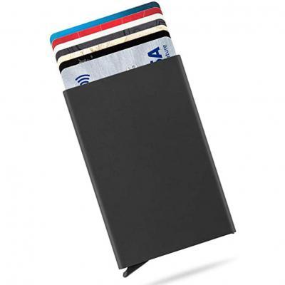 Tarjeteros para Tarjetas de Crédito Cartera de Aluminio Ultradelgado Bloqueo RFID Automático Pop Up